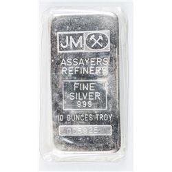 Scarce - Collector Bullion .9999 Fine Silver  JM Bar. 10oz ASW Rare Blank Back. No Longer  Produced.