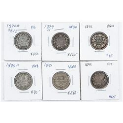 Group (6) Canada Silver 25 Cents: 1870H,  1874H, 1872, 1890H, 1891, 1892 (CIR)