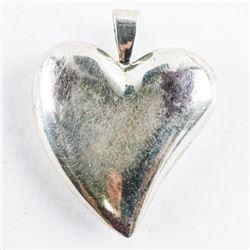 Estate Sterling Silver Puffed Heart Pendant