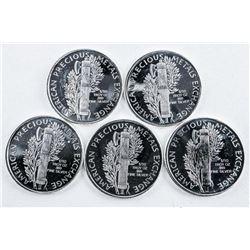 Lot (5) .9999 Fine Silver US Mercury Dime  Coins