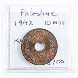 Palestine 1942 10 Mils (AU )KM#4