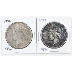 Lot (2) USA Silver Peace Dollars: 1922 and  1923