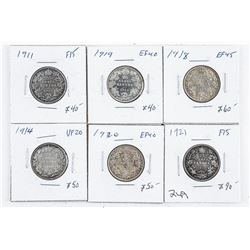 Group (6) Silver 25 cents: 1911, 1914, 1918,  1919, 1920, 1921 (OOR)