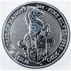 .9999 Fine Silver 5 Pounds Coin 'White Horse  of Hanover' 2oz