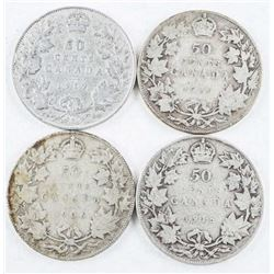 Group of (4) Historical Silver Canada 50  Cent: 1906, 1910, 1918, 1919