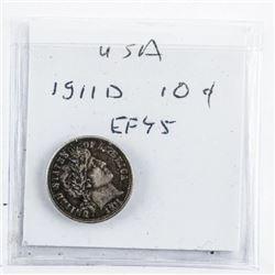USA 1911D - 10 Cent Coin EF45
