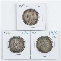 Group (3) 1910-1912-1916 Canada Silver 50  cent