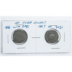 Pair USA Shield Nickels 1866 with Rays - 1867  No Rays.