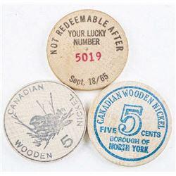 Group (3) Genuine Wooden Nickel