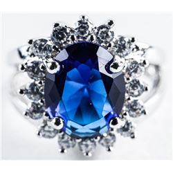925 Silver Lady Di Style Ring, Oval Sapphire  Blue and Clear Swarovski Elements. Size 6.5