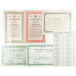 Group of Estate Colonial Russia 1900s  Certificates and Stock Certs