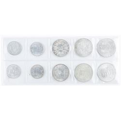 Group (10) Coins Austria 3.7498oz Silver -  10, 50, 100 Schillings