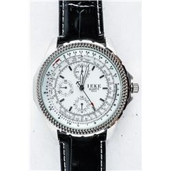 Gents Sport Watch Leather Band Aviator Style