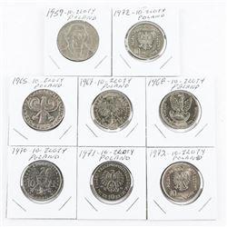 Lot (8) Poland 10 ZLOTY 1959-1972 Era (MXR)