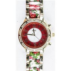 Ladies Fancy Quartz Watch with Rose Design