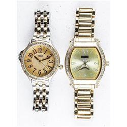 Lot (2) Ladies Fancy Quartz Watch (Goldtone)  with Swarovski Elements