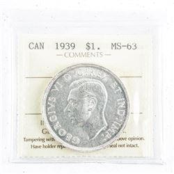 1939 Canada Silver Dollar MS63