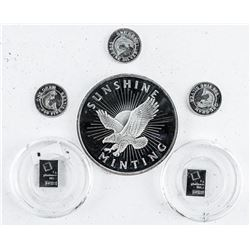 Group (6) .9999 Fine Silver Collector  Bullion, 2 x Bars and 4 x Rounds