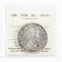 1958 Canada Silver Dollar MS63