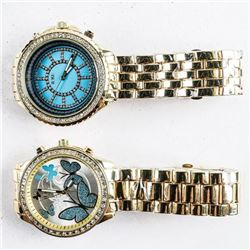 Lot (2) US Fancy Quartz Watches with  Swarovski Elements