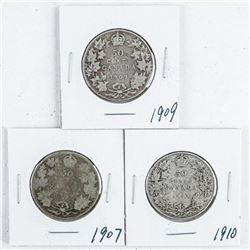 Group (3) Canada Silver 50 cent: 1907, 1909,  1910