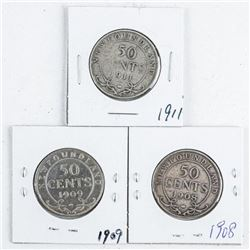 Group (3) NFLD Silver 50 Cents: 1908, 1909,  1911