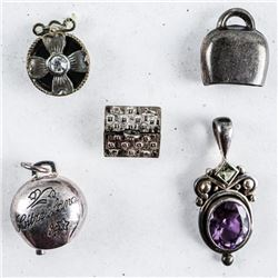 Lot (5) Estate Sterling Silver  Pendants/Charms