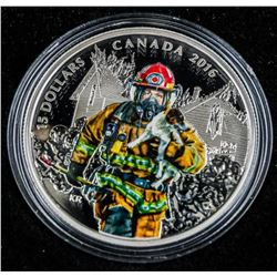 RCM 2016 - National Heroes .999 Fine Silver  $15.00 Coin 'Firefighter' LE/C.O.A. Wood Case  SOLD OUT