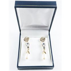925 Silver / Gold plated 3 Tier Drop Earrings  with Swarovski Elements and Pearls
