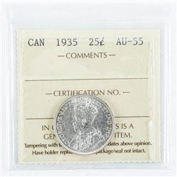 1935 Canada 25 Cent Coin. AU-55. (SOR)