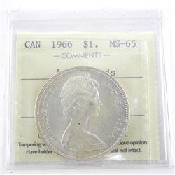 1966 Canada Silver Dollar LB MS65. ICCS.