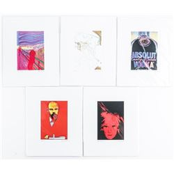 """Group (5) Andy Warhol Art Cards Matted 4x6"""""""