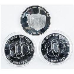 Lot (3) Silver World Money, Fair Medals,  Seoul, Korea 2018