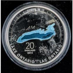 2014 .9999 Fine Silver $20.00 Coin 'Great  Lakes - Ontario'