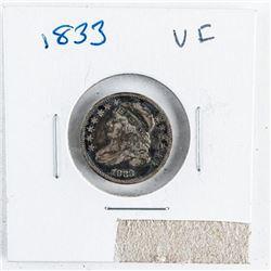 1833 USA Silver 10 Cent (VF)