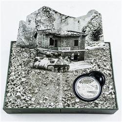 The Italian Campaign .9999 Fine Silver $20.00  Coin. Display Box
