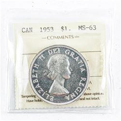 1953 Canada Silver Dollar MS63
