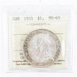1935 Canada Silver Dollar MS65. ICCS.