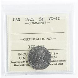 1926 Canada 5 Cents VG-10 Far 6. ICCS.