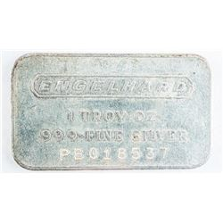Vintage Engelhard .9999 Fine Silver 1oz Bar  Serialized. No Longer Produced
