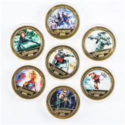 Avengers 14pc Collection Gold Plated Medals  with Colour (SXR)