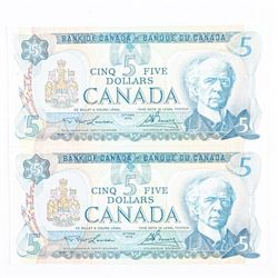 Pair Bank of Canada 1979 5.00 GEM UNC -  Sequence (SXR)