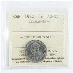 1922 Canada 5 Cents AU55. ICCS. Far Rim