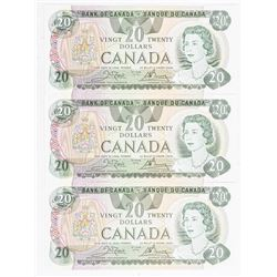 Lot (3) Bank of Canada 1979 20.00 Notes. In  Sequence