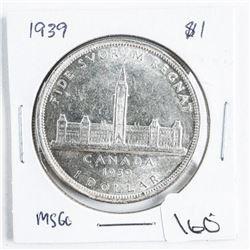 1939 Canada Silver Dollar MS60