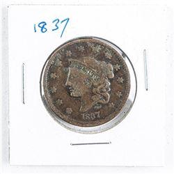 1837 USA One Cent (VG)