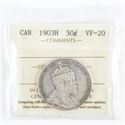 1903H Canada 50 Cents VF-20 ICCS (MER)