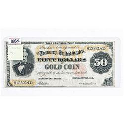 1882 USA 50.00 Gold Certificate, Rare.  FR-1197 VG-10