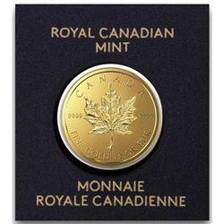 .9999 Fine Pure Gold Coin - Maple Leaf,  Serialized, RCM Canada Bullion.