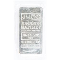Estate JM Vintage Collector Bullion 10oz  .9999 Fine Silver Bar. Logo Back. Serialized